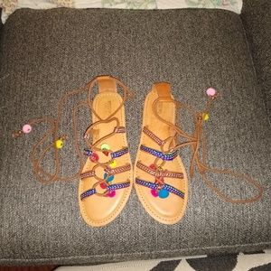 Colorful Tie Up Sandals